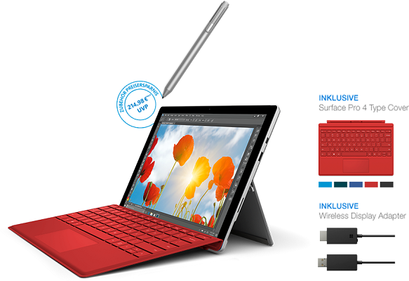 Surface Pro 4 + Type Cover und Wireless Display Adapter ab 749€