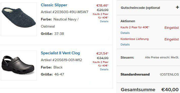 Endet heute: Crocs: 2 Paar für 40€ + keine Versandkosten   z.B. 2er Set Specialist II Vent Clog für 40€ (statt 50€)
