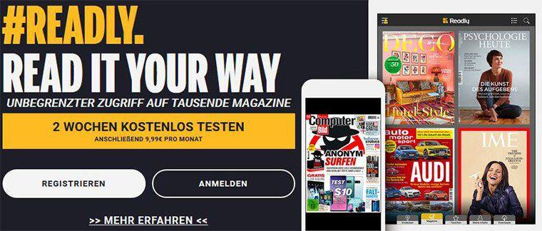 14 Tage Readly kostenlos testen – Zugriff mit bis zu 5 Profilen(!) auf über 3.000 Magazine