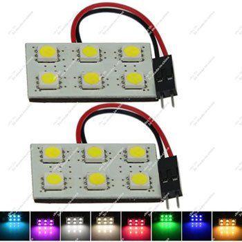2 Panels mit 6 – SMD LEDs in versch. Farben inkl. KFZ Adaptern für je ~1€