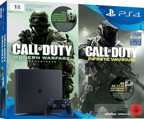 Sony PlayStation 4 Slim (CUH 2016B) mit 1 TB + Call of Duty: Modern Warfare + Infinite Warfare für 234€ (statt 281€)