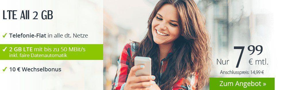 winSIM LTE M mit Telefonie + 2GB Daten für 7,99€ mtl.