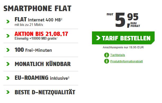 Telekom Smart Flat mit 400MB für einmalig 19,95€ und 5,95€mtl.   monatlich kündbar + 10 GB im 1. Monat gratis