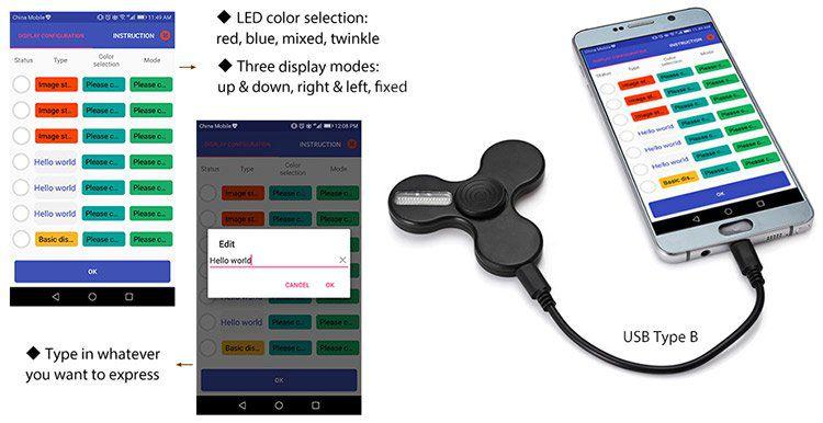 Fidget Spinner mit einstellbarer LED Schrift via App für 7,11€