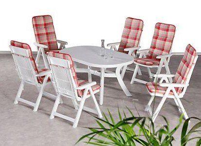Best Freizeitmöbel Santiago 13 tlg Tischgruppe in Kunststoff (weiß) für 197,95€  (statt 247€)