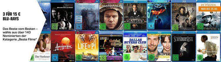 Saturn: 3 Blu rays für 15€