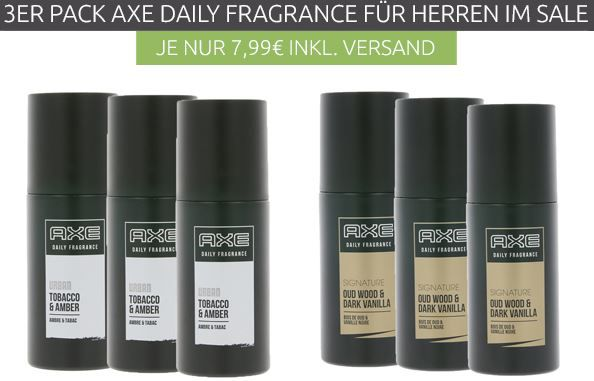 3er Pack Axe Daily Fragrance Herrenduft für 7,99€ (statt 21€)