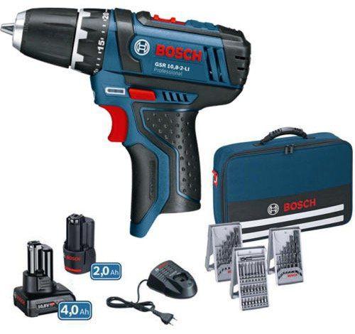 Bosch GSR 10,8 2 L Akkuschrauber + 2 Akkus + 39 tlg. Zubehör + Tasche für 93,45€ (statt 110€)