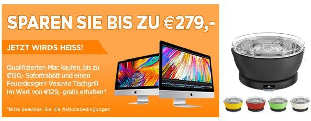 Verlängert: Bis zu 150€ Rabatt auf neue Mac Modelle + gratis Holzkohlegrill (Wert 108€) + 5% EDU Rabatt möglich