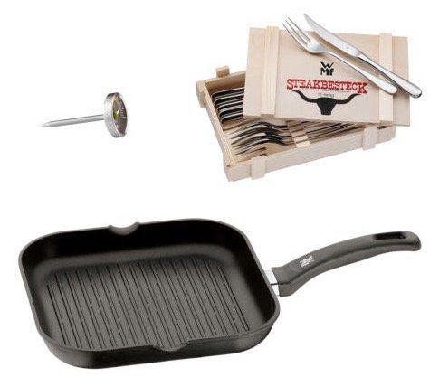 WMF Steak Besteck in Holzkiste + Grillpfanne + Thermometer für 69€ (statt 81€)