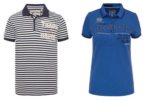 Camp David Poloshirt mit Streifen für 34,95€   oder Damen Soccx Poloshirt für 29,95€