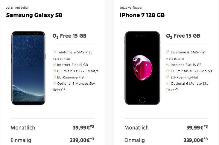 Div. Smartphones (iPhone 7 128GB, Galaxy S8 uvm.) + o2 Free 15GB LTE Tarif ab 34,99€ mtl.