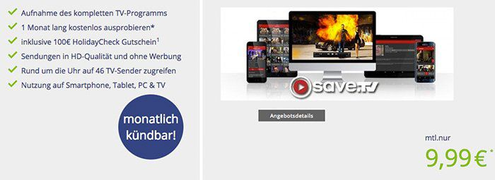 1 Monat save.TV gratis + 100€ Reisegutschein