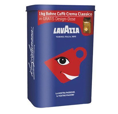 1kg Lavazza Caffe Crema Classico Bohnen + Design Dose für 9,99€ (statt 15€)