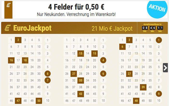 Fast gratis! 4 Felder Eurojackpot (21 Mio. Jackpot!) für 0,50€   nur Tipp24 Neukunden