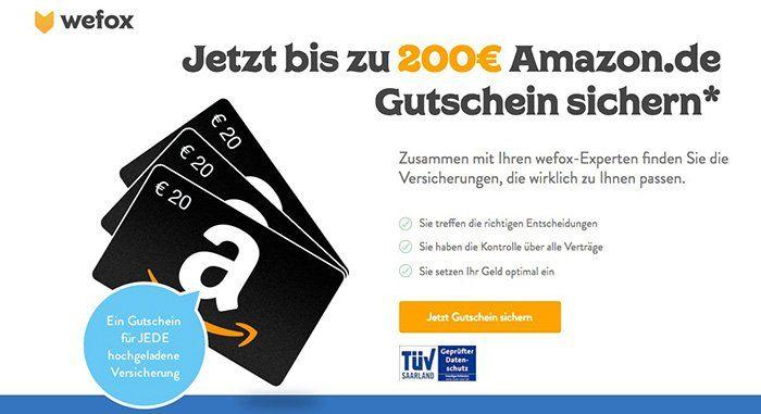 wefox Versicherungs Manager nutzen und bis zu 200€ Amazon Gutscheine bekommen