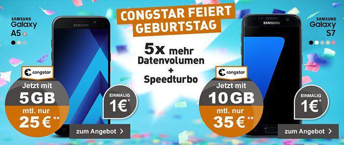 Telekom Allnet Flat mit 5GB + Samsung Galaxy A5 (2017) für 25€ mtl.