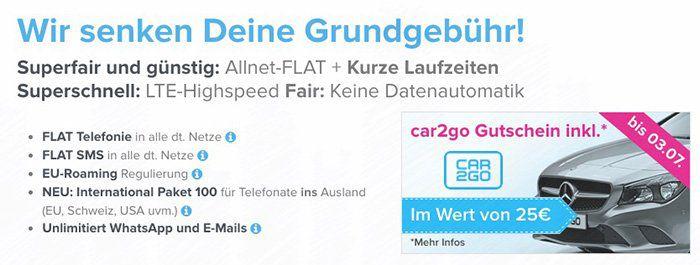 o2 LTE Tarife mit 3GB oder 4GB und Tele/SMS Flat + car2go Gutschein   nur 6 Monate Laufzeit
