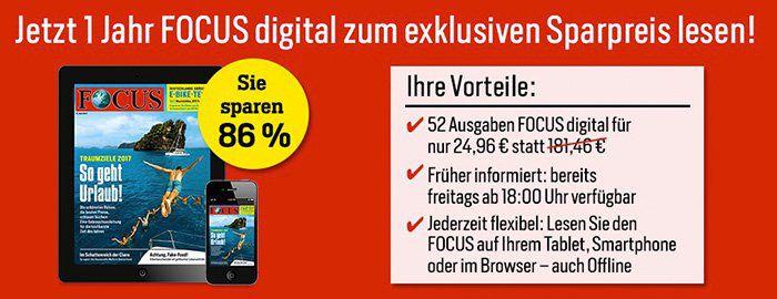 1 Jahr lang Focus digital für 24,96€ lesen (statt 181,46€)