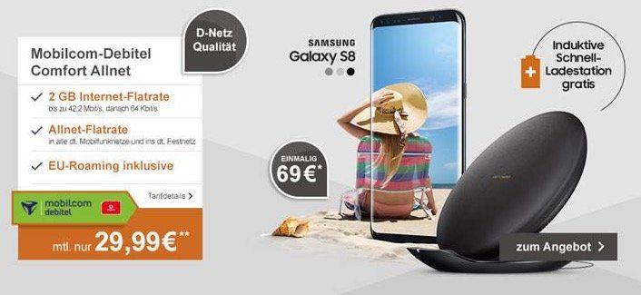 Samsung Galaxy S8 + induktive Ladestation für 69€ + Vodafone Allnet Flat mit 2GB für 29,99€ mtl.