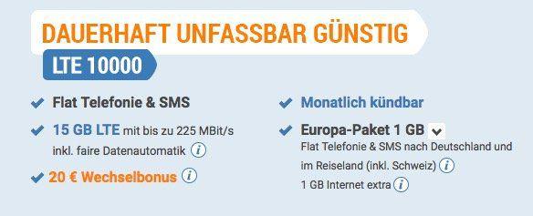 o2 Flat mit 15GB LTE für nur 24,99€ mtl. + 1GB EU Volumen   nur 1 Monat Laufzeit!