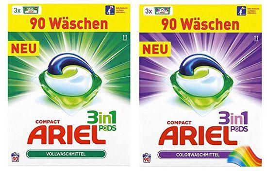 Ariel 3 in 1 Pods Color oder Vollwaschmittel (90 Waschladungen) für je 14,99€ (statt 20€)   nur Primer!