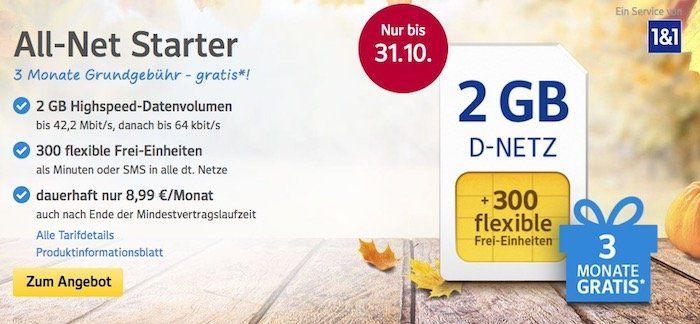 Nur noch bis Morgen! 1&1 All Net & Surf Special ab 6,99€/Monat   bis zu 300 Freieinheiten + 3 GB Internet   3 Monate gebührenfrei!