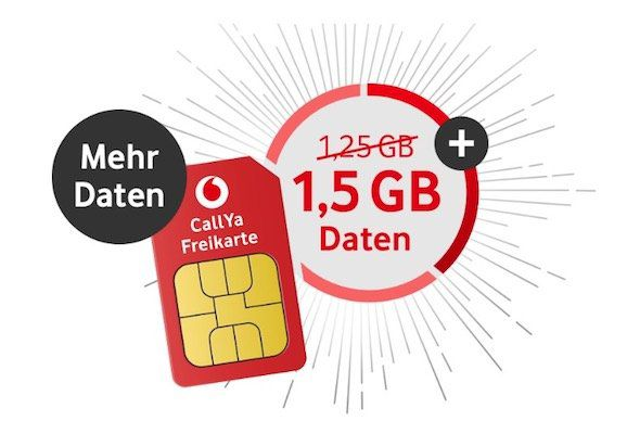 Vodafone CallYa Prepaid für 9,99€ für 4 Wochen   1,5GB LTE, 200 Einheiten