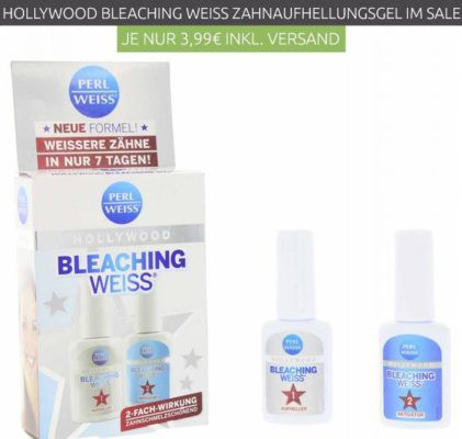 PERLWEISS Hollywood Bleaching Weiss Zahnaufhellungs Gel 2x10 ml für nur 3,99€