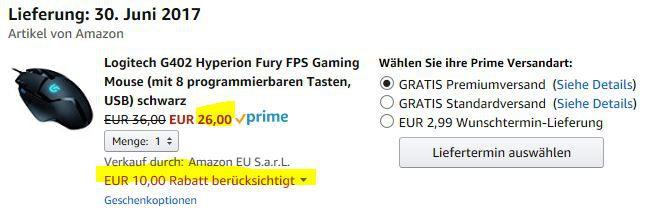 Beendet! Logitech G402 Hyperion Fury FPS Gaming Maus statt 44€ für 26€