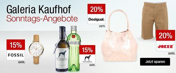 Galeria Kaufhof Sonntagsangebote   z.B. 20% auf viele Herren Hosen oder 15% Rabatt auf Gin und mehr