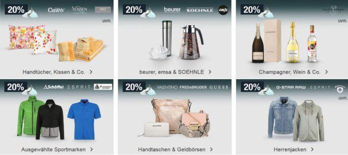 20% Rabatt auf Taschen, Markenwäsche, Champagner uvm.   Galeria Kaufhof Mondschein Angebote