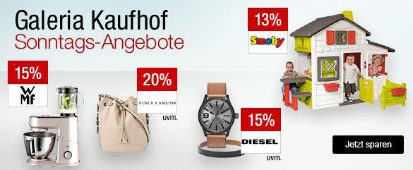 Galeria Kaufhof Sonntagsangebote   z.B. 20% Rabatt auf ausgewählte Sportartikel, 15% Rabatt auf viele Uhren und Schmuck