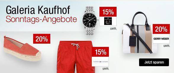 Galeria Kaufhof Sonntagsangebote   z.B. 20% Rabatt auf Damen und Herren Schuhe, 30% auf ausgewählte Spirituosen und Weine, 13% auf Lego Creator