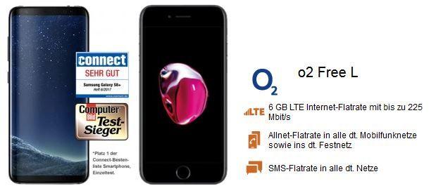Samsung S8 o. Apple iPhone 7 + O2 Allnet + SMS Flat inkl. 6GB Daten ab 44,99€ mtl.