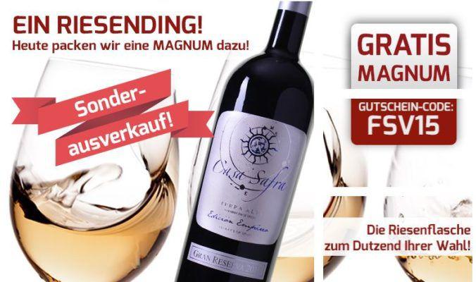 Weinvorteil Sonderausverkauf   ab 12 Flaschen Wein eine Magnum Flasche Casa Safra Gran Reserva gratis!