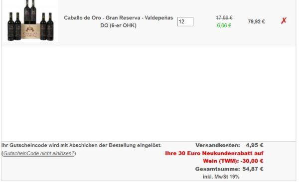 Fehler? 6 Flaschen Caballo de Oro Rotwein in hübscher Holzkiste für 44,91€   oder 12 Fl. für 54,87€?