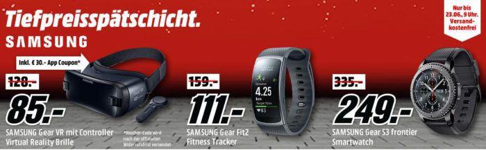 Media Markt SAMSUNG Tiefpreisspätschicht   günstige Smartwatches u. Tracker wie SAMSUNG Gear Fit 2  für 111€