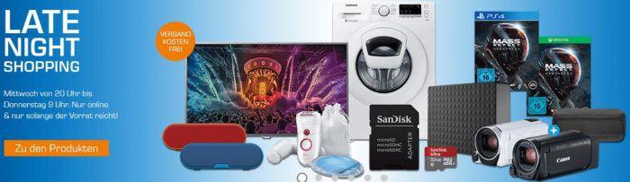Saturn Late Night Shopping Übersicht   u.a.: Seagate Expansion Desktop 5TB ext. Festplatte für 118€
