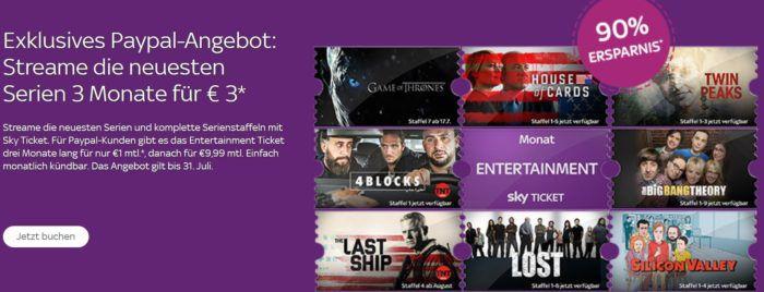 Sky Entertainment Ticket: PayPal Neukunden Aktion   3 Monate statt 30€ nur 3€   TOP!