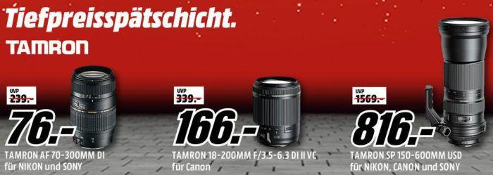 Media Markt TAMRON Tiefpreisspätschicht   günstige Objektive für Nikon, Canon und Sony schon ab 76€