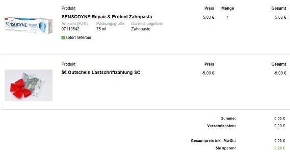 Knaller! 5€ Rabatt bei Lastschrift für Medikamente (MBW nur 5€)   bspw. Sensodyne Zahnpasta für 0,03€