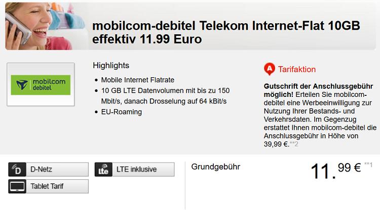 Telekom LTE Datenflat bis zu 150 Mbit/s mit 10GB ab 11,99€