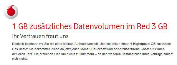 Vodafone: Bei vielen Verträgen dauerhaft 1GB Datenvolumen geschenkt