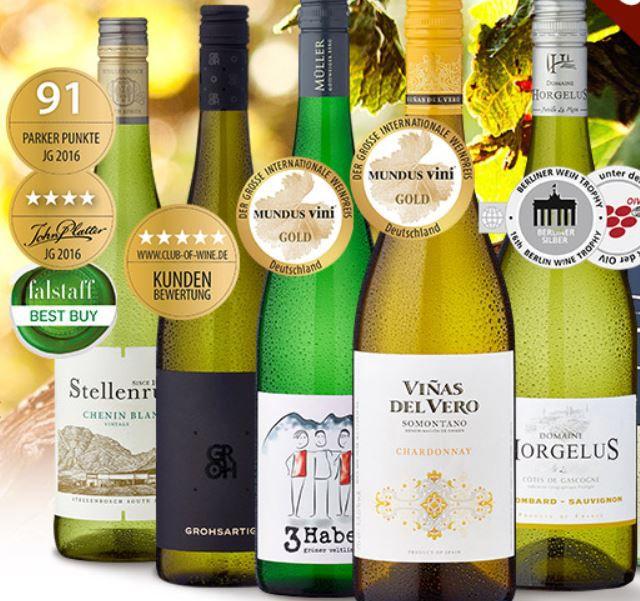 6 Flaschen Weißwein   Probierpaket Sonne im Glas für nur 29€