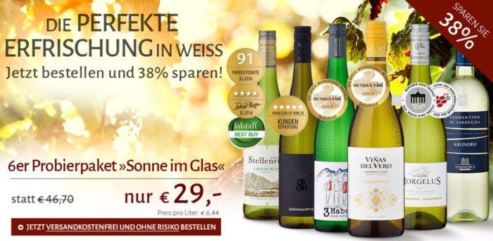 Vorbei! 6 Flaschen Weißwein   Probierpaket Sonne im Glas für nur 29€