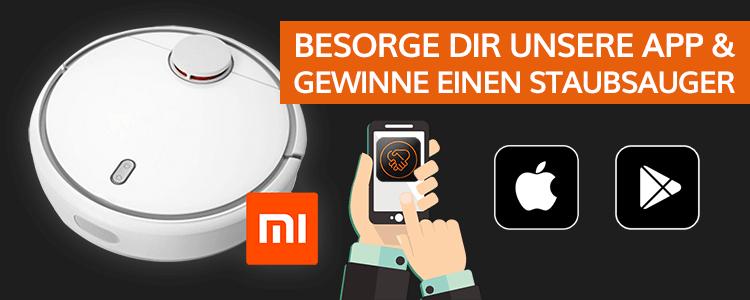 Gewinnspiel! Android oder iOS App downloaden und mit Glück einen Xiaomi Saugroboter gewinnen