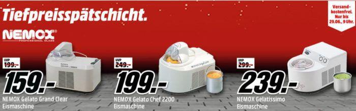 Media Markt NEMOX Tiefpreisspätschicht   günstige Eismaschinen ab 159€