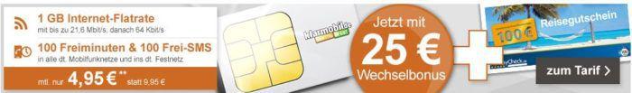 klarmobil Smart Flat mit 100 Minuten + 100 SMS + 1GB für 4,95€mtl. + 100€ HolidayCheck Gutschein