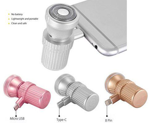 Elektrischer Rasierer fürs Smartphone (USB C, Micro USB oder 8 Pin für iPhone) ab 1,77€